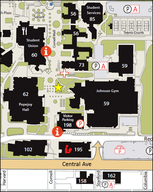The yellow star shows the market location. Join us Wednesdays from 10am-2pm on the Cornell Mall, in the grassy triangle between Johnson Center and the bronze statues.