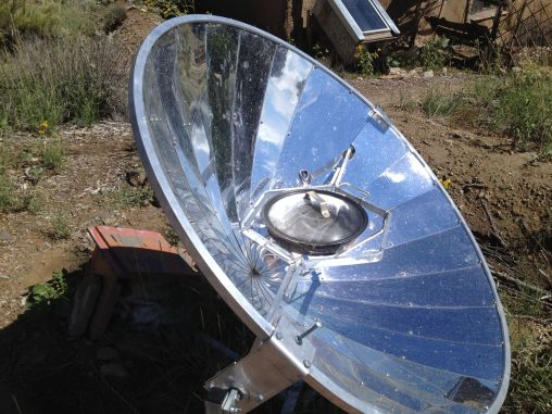 Parabolic solar cooker at the Ampersand Sustainable Learning Center. Photo by: Paloma Sanchez