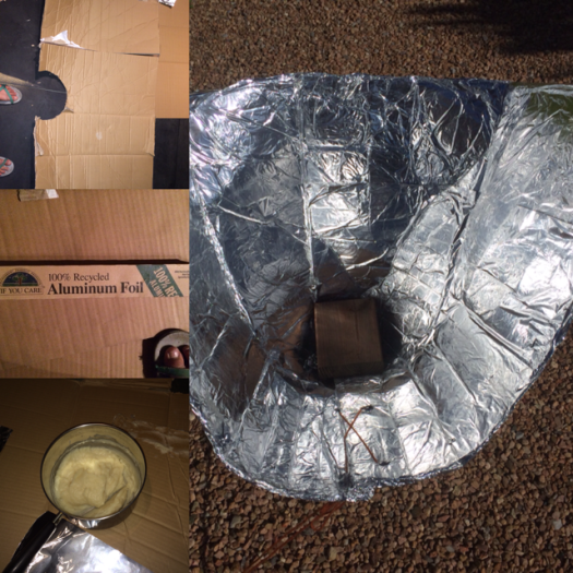 Materials for solar funnel oven. Photo by: Paloma Sanchez