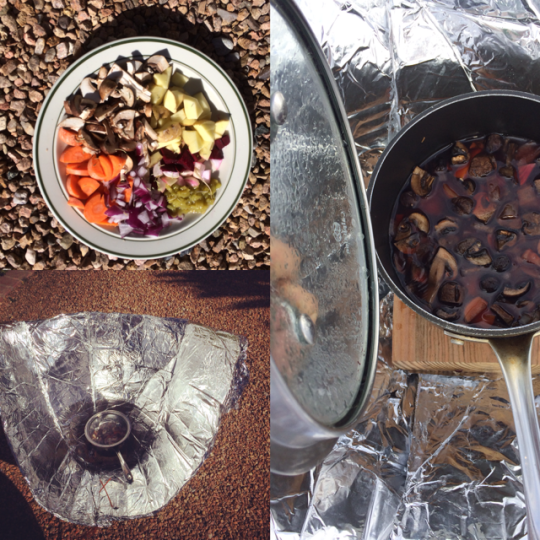 Cooking in the solar funnel oven! Image by: Paloma