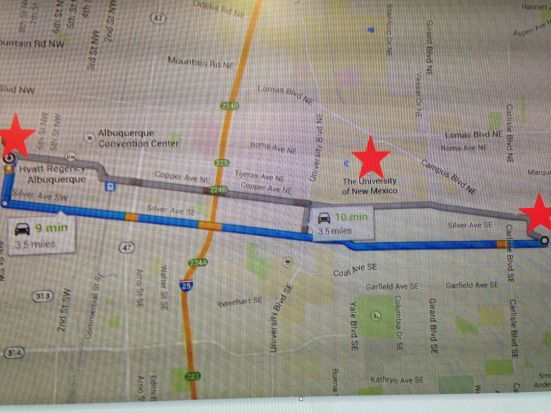 The three stars indicate the University of New Mexico, and the growers' markets at Robinson Park and Morningside Park. Map by Ashli.