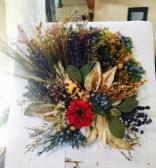 The resulting arrangement that in many ways was inspired by the colors and textures of the fall images above.