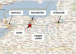 Partial map of NY, highlighting Avon, NY